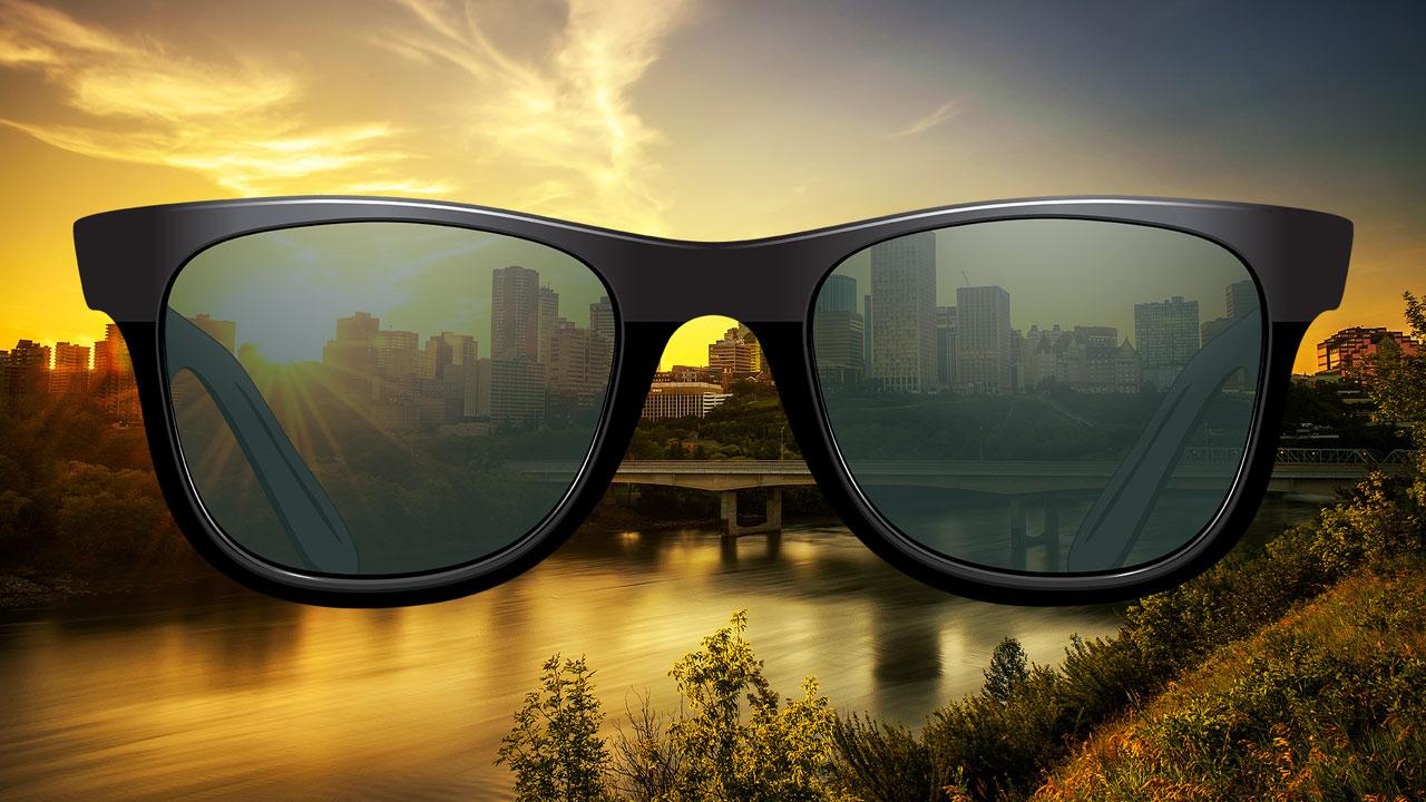 Edmonton City Skyline with Sunglasses